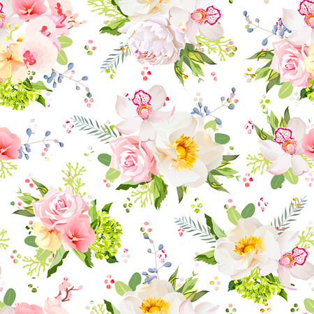 Pretty summer garden seamless vector design print