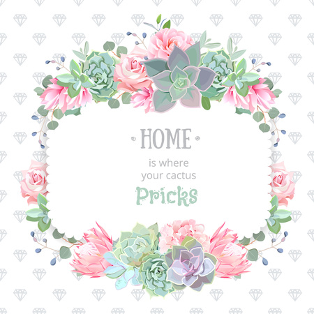 Green colorful succulents vector design square frame