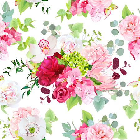 Summer mixed bouquets vector seamless pattern