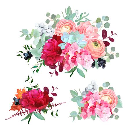 bouquets de conception de vecteurs ensemble de bouquets saisonniers
