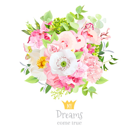 Beautiful summer vector bouquet of flowers and leaves design set 矢量图像