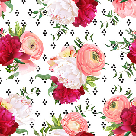 Burgundy red and white peonies, ranunculus, rose seamless vector Illustration