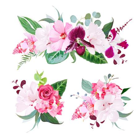 Exotic tropical floral bouquets vector design set Illustration