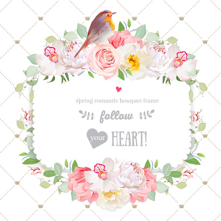 peachy: Square vector design frame with flowers and robin bird Illustration