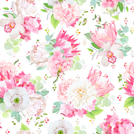 Spring mixed bouquets seamless vector design pattern Illustration