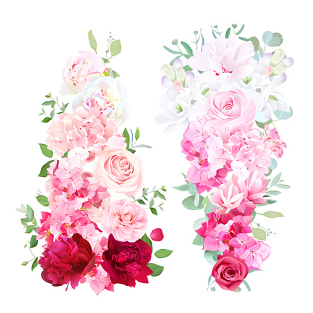 Delicate wedding ombre bouquets of rose, peony, camellia, hydran