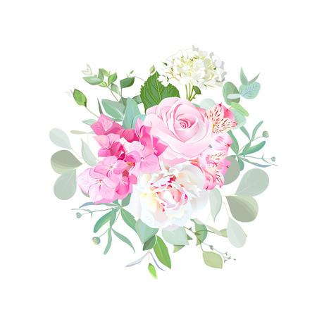assortment: Bouquet of rose, peony, hydrangea, alstroemeria lily and eucalyp