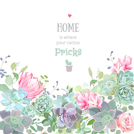 Green colorful succulents vector design card