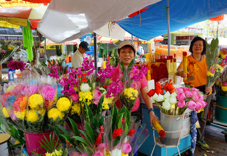 Singapore Chinatown floral market Editorial
