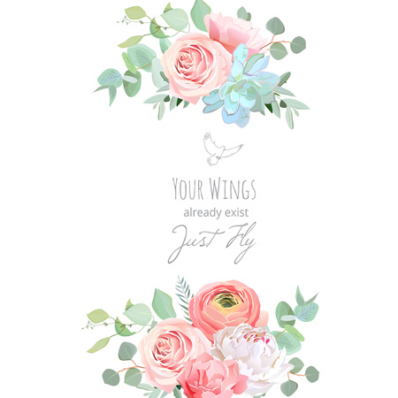 Delicate wedding floral vector design card