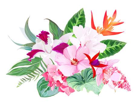 Exotisch tropisch bloemen vectorboeket
