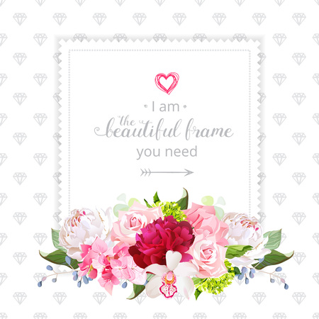Square Floral Vector Design Frame. Orchid, Rose, White And Burgundy ...
