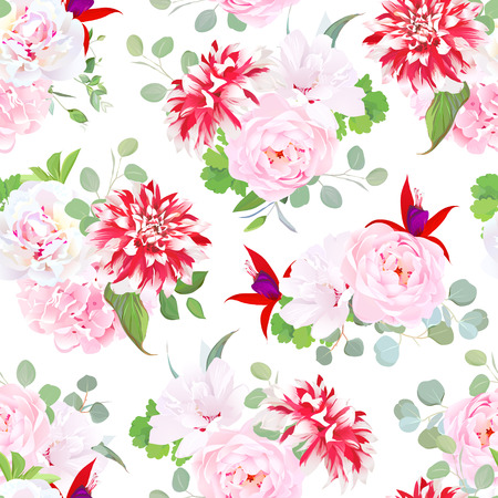 speckled: Garden posh motley dahlia, pink wild rose, hydrangea, red fuchsia, white layered hibiscus, green plants seamless vector pattern. Summer floral design print. Bouquets of beautiful flowers. Illustration