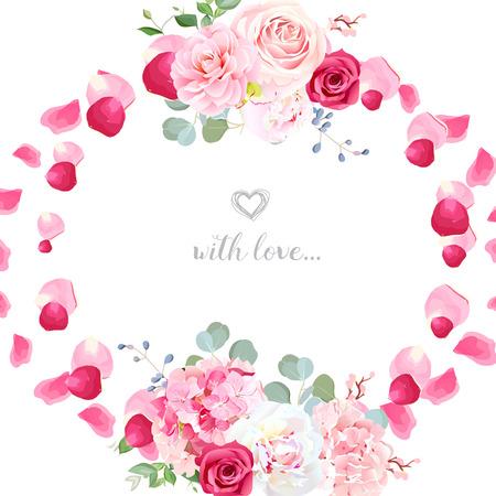 Romantic wedding floral vector design round card Çizim