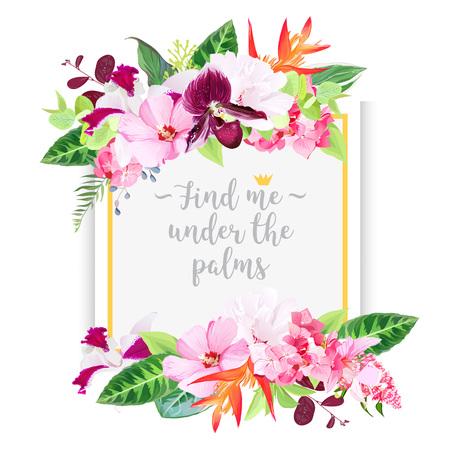 熱帯の花とカード正方形・ ファッション ベクター デザイン