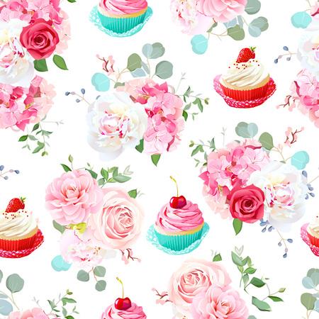Rose, peony, hydrangea, camellia, tasty cupcakes seamless vector 矢量图像