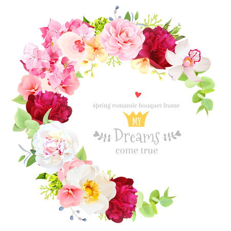 Summer vector design round frame with white and burgundy red peony, pink orchid, camellia, wild rose, hydrangea, rose and bright leaves. Floral wedding card. All elements are isolated and editable.