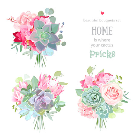 Small gift bouquets vector design set. Pink rose, protea, mint and green succulents, echeveria, hydrangea, eucalyptus. Flower mix in modern style. Wedding style. All elements are isolated and editable