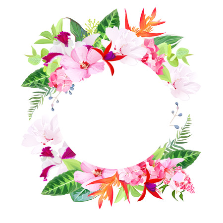 Beach party vector design round card. Exotic tropical flowers. Hibiscus, medinilla, orchid, hydrangea,orange strelitzia bird of paradise flower, red fuchsia. All elements are isolated and editable Illustration