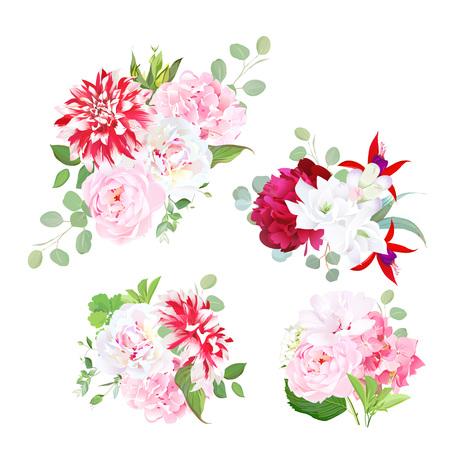 Garden delicate bouquets vector design objects.