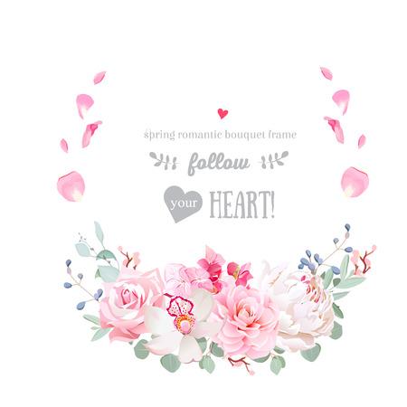 Delicado vector floral redondo marco con flores de la boda Foto de archivo - 84180339