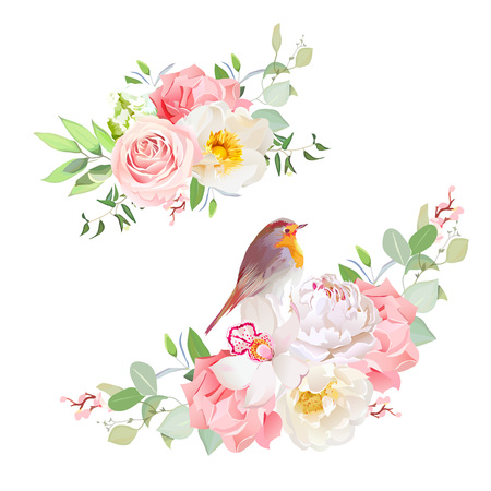 peachy: Spring delicate bouquets vector design objects.
