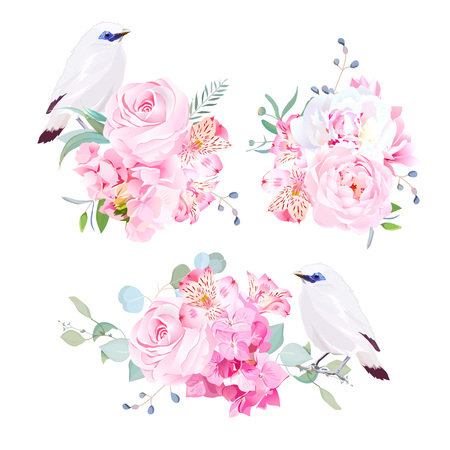 starling: Mix of bouquets and Bali myna birds vector design set