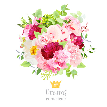 burgundy: Summer bouquet of hydrangea, burgundy red peony, rose, orchid, c Illustration