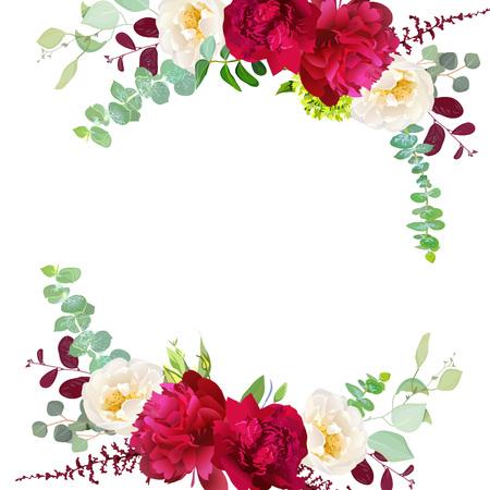 Elegant autumn round floral bouquet design frame