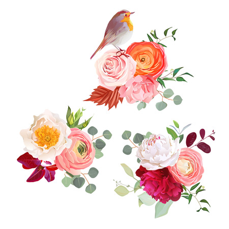 peachy: Autumn flowers mix and cute robin bird design bouquets