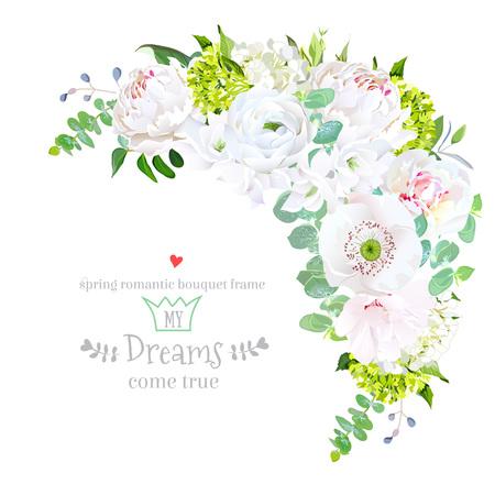 Stylish floral crescent shaped vector design frame Vektorové ilustrace