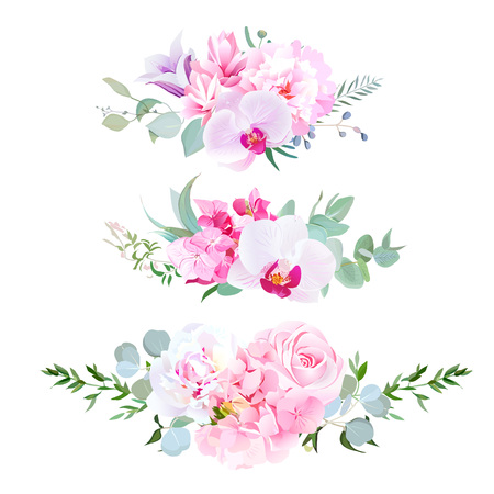 Stylish mix of horizontal bouquets vector design set