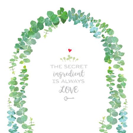 romantic date: Wedding arch of baby blue eucalyptus branches vector design fram