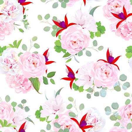 Garden wild rose, pink hydrangea, peony, red fuchsia, white layered hibiscus, eucalyptus, green plants seamless vector pattern.