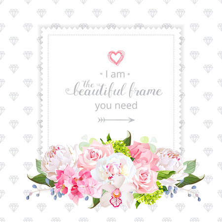 Square floral design frame in watercolor style 矢量图像
