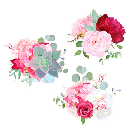 Blooming wedding flowers vector design bouquets