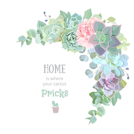 Wild desert floral crescent shaped vector frame with succulents