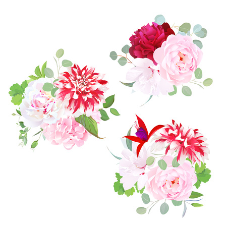 Garden delicate bouquets vector design objects Illustration