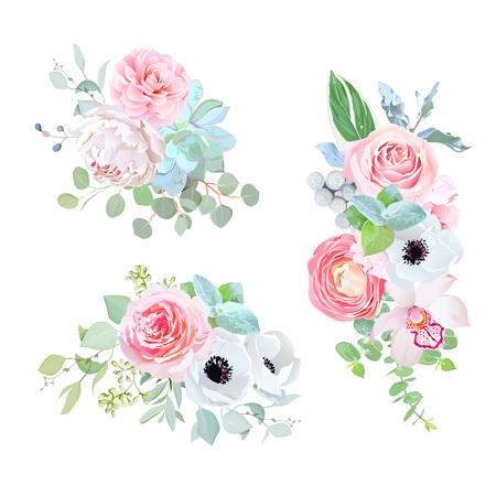 Elegant bouquets of wedding flowers vector design set.