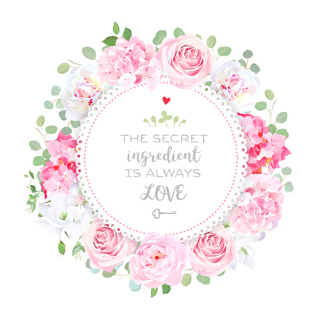 Blooming peony, pink hydrangea, rose, white freesia, eucalyptus
