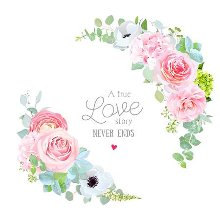 Floral liefde sjabloon kaart ontwerp.