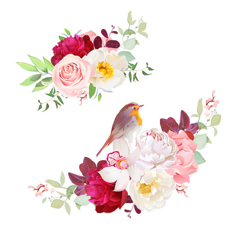 peachy: Autumn delicate bouquets vector design objects. Stock Photo