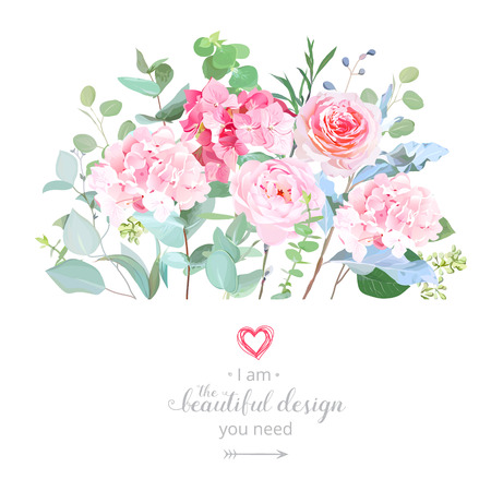 Floral design vector border in watercolor style