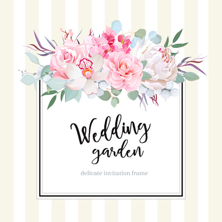 Square floral vector design card Ilustrace