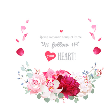 Delicate floral vector round frame with romantic flowers.