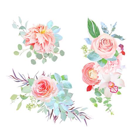 Elegant bouquets of japanese dahlia, ranunculus, hydrangea, succ