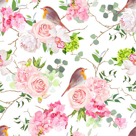 Natural vector seamless watercolor pattern with cute robin birds