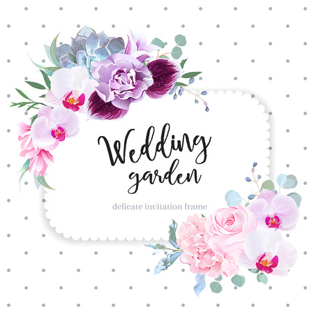 Square floral vector design frame. Purple orchid, pink rose, hydrangea, campanula flowers, carnation, succulent, green eucalyptus. Wedding card. Simple backdrop with polka dots Vettoriali