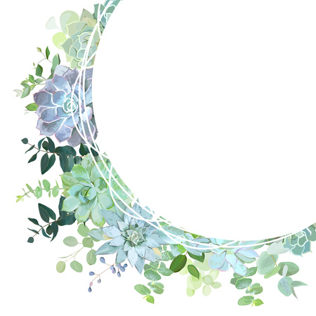 Herbal mix round vector frame. Hand painted plants, branches, leaves, succulents on white background. Echeveria, eucalyptus, greenery. Natural card design. All elements are isolated and editable.  イラスト・ベクター素材
