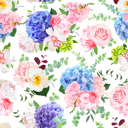 Delicate seamless vector design pattern arranged from blue, pink and purple hydrangea, orchid, peony, rose, carnation and greenery.Beautiful spring wedding print.All elements are isolated and editable 矢量图像